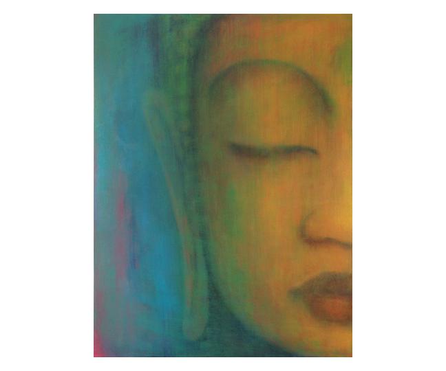 "Maitri series, multi  36"" x 48"" acrylic on canvas ©Karen Zilly  SOLD"