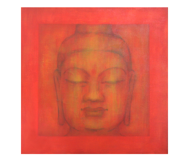 """Buddha Series, Middle    24"""" x 24"""" acrylic on canvas ©Karen Zilly    SOLD"""