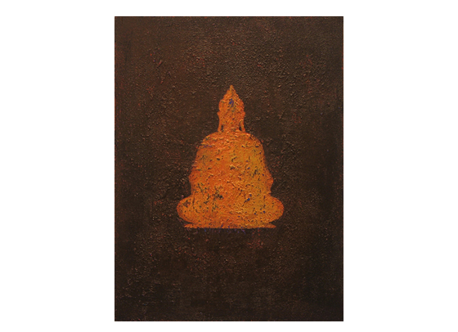 """Buddha: silhouette, bronze    9"""" x 12"""" acrylic on canvas ©Karen Zilly    SOLD"""