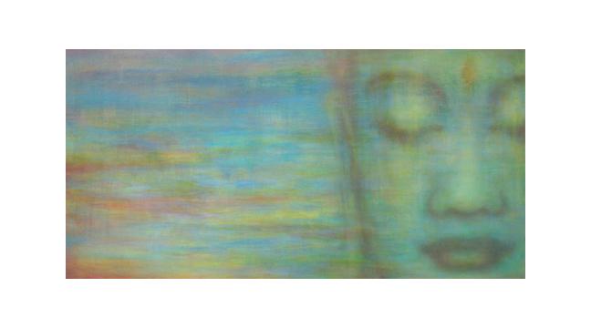 "Custom Buddha    36"" x 60"" acrylic on hand-built canvas ©Karen Zilly    SOLD"