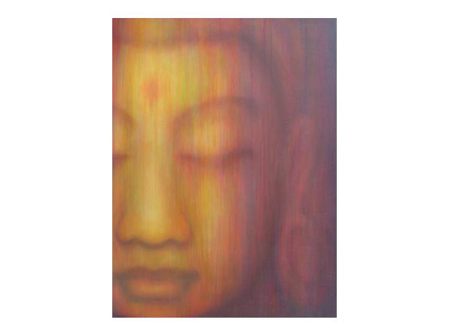 Custom Padmapani  Residence in Florida  acrylic on hand-built canvas ©Karen Zilly  SOLD