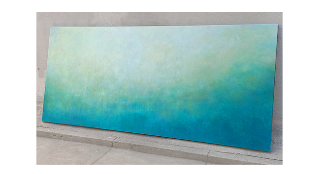 "Coastal Abstract  Commissioned for client in Florida  30"" x 68"" acrylic and paste on hand-built canvas ©Karen Zilly  SOLD"
