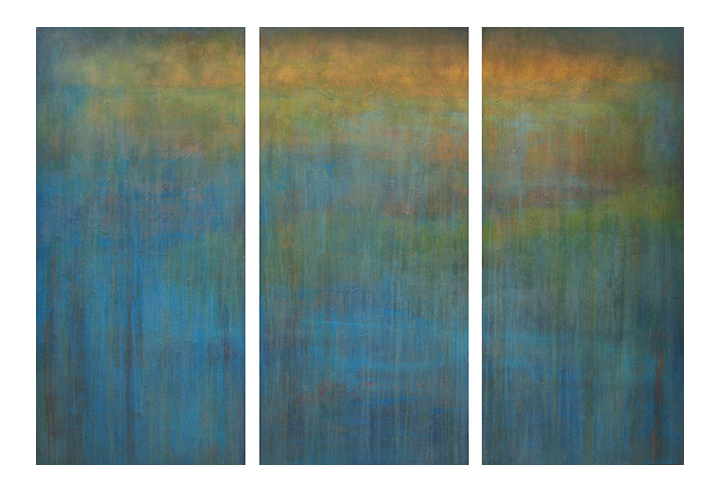 "Custom art  Residence in Virginia  3 panels, 24"" x 50"" ea, acrylic on hand-built canvas ©Karen Zilly  SOLD"