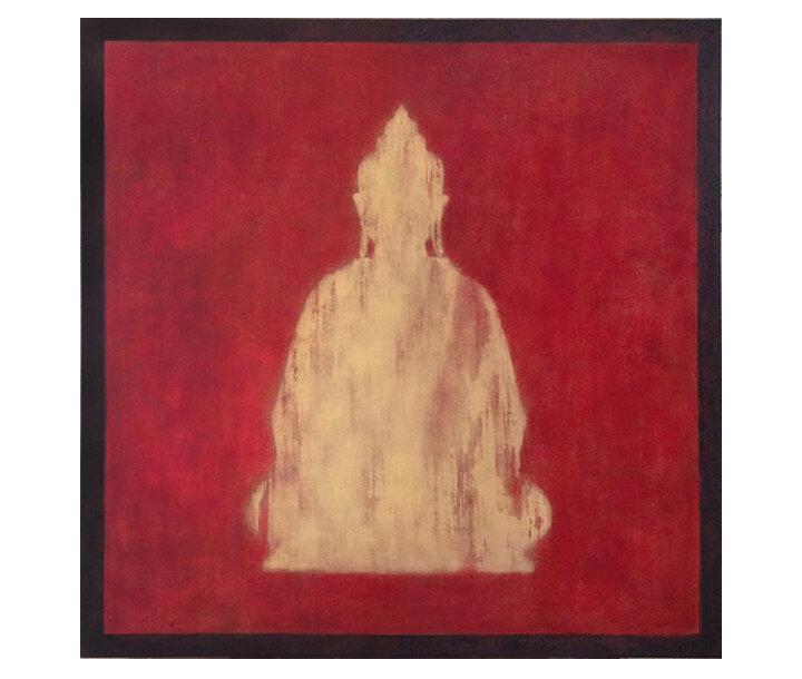 "Custom Buddha Silhouette    48"" x 48"" acrylic on hand-built canvas ©Karen Zilly    SOLD"