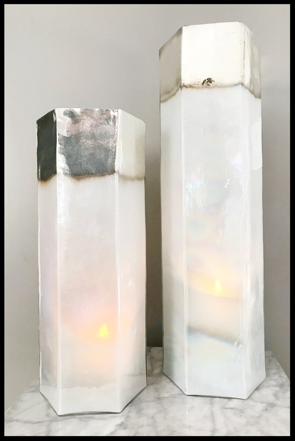 Glass Hurricane Pillar Set