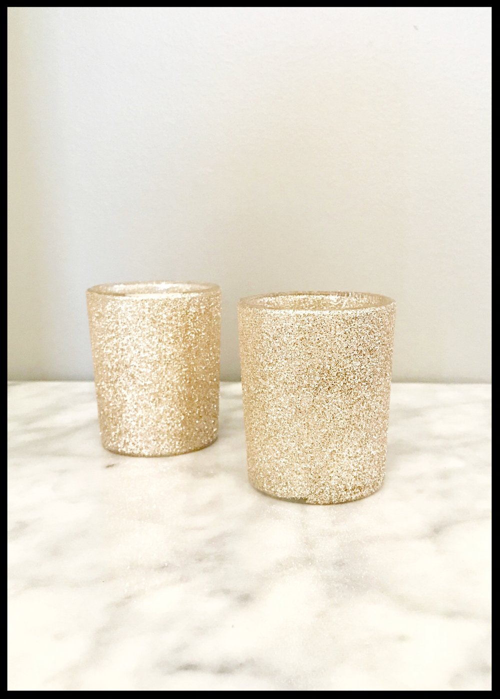 Rose Gold Glitter Votive Holder