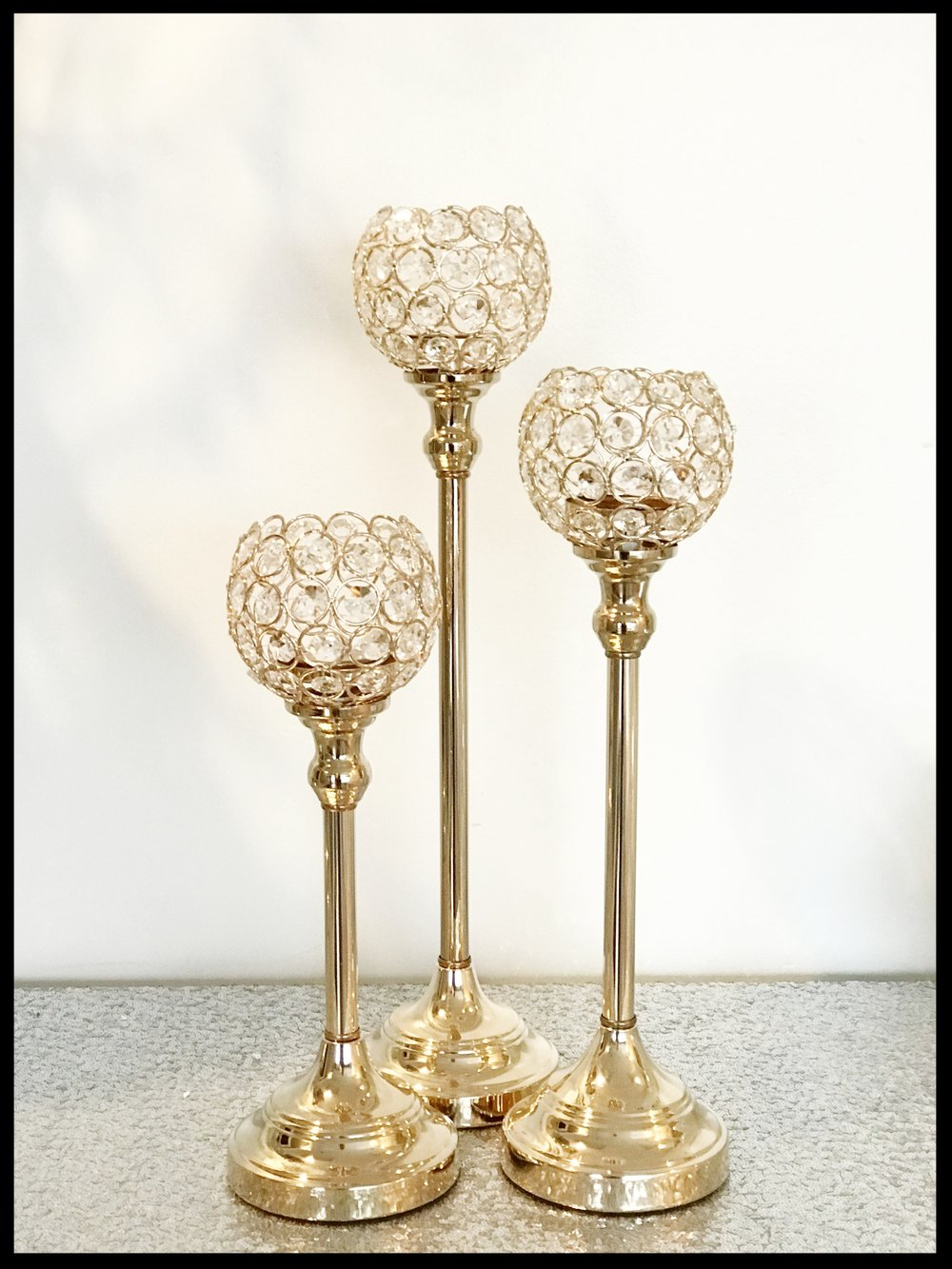 Gold Triple Votive Stands (also available in silver)