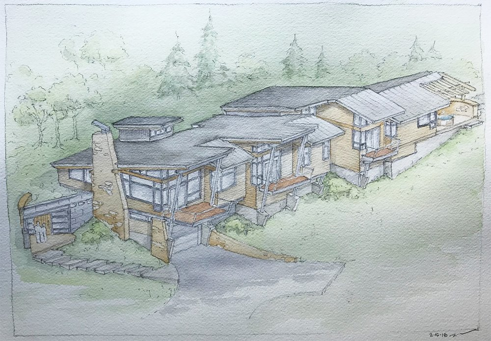 So-Inclined; Residence in Telluride Colorado. The Design and watercolor rendering by Designworks.