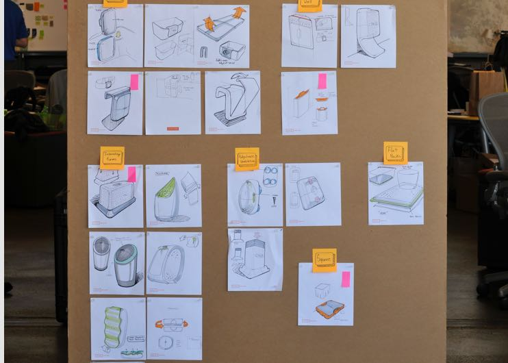 Explore - In this phase we generated ideas around different functional concepts and product architectures. In our group brainstorms, we tackled questions like how filters get replaced, where/how the device is installed, and how to optimize air circulation.
