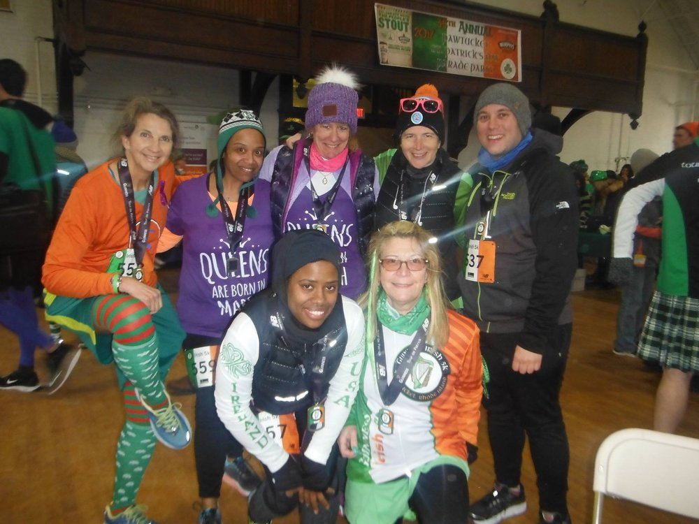 Irish 5k in Pawtucket, RI with several running buddies. Kerri and I are March babies so we ran in our birthday girl swagg. Right to left Michael, Kate, Kerri, Maria, Priscilla & Nancy. March 2017