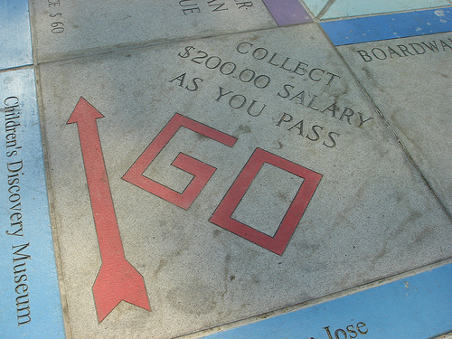 The new dilemma for authors: where to pass go. Thanks to toastie14 for this image Monopoly in the Park (10) under Creative Commons.
