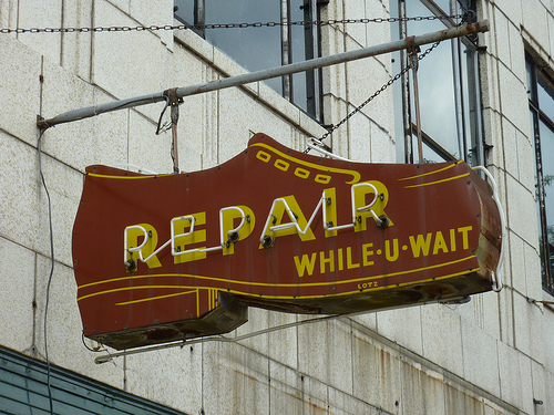 It's good to put ourselves in our editors' shoes every now and again. Thanks to sfgamchick for use of this image, Shoe Repair Sign, under Creative Commons.