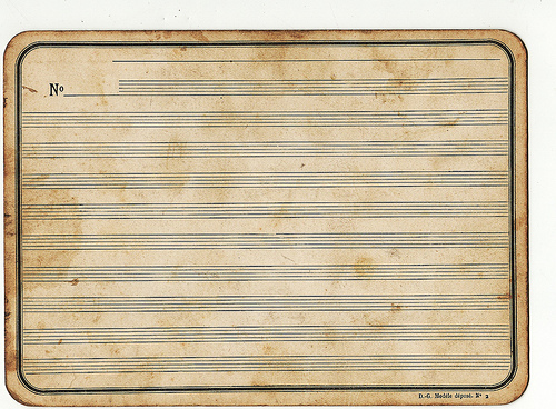 A blank page...Does music make a difference to our writing? Thanks to calsidyrose for use of this image Very Vintage Music Staff under Creative Commons.