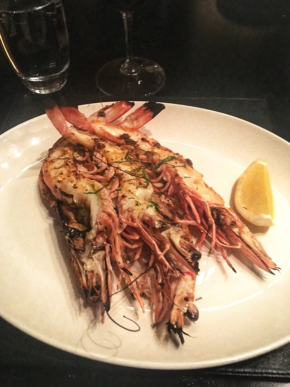 Charcoal Roast King Prawns Split and Marinated