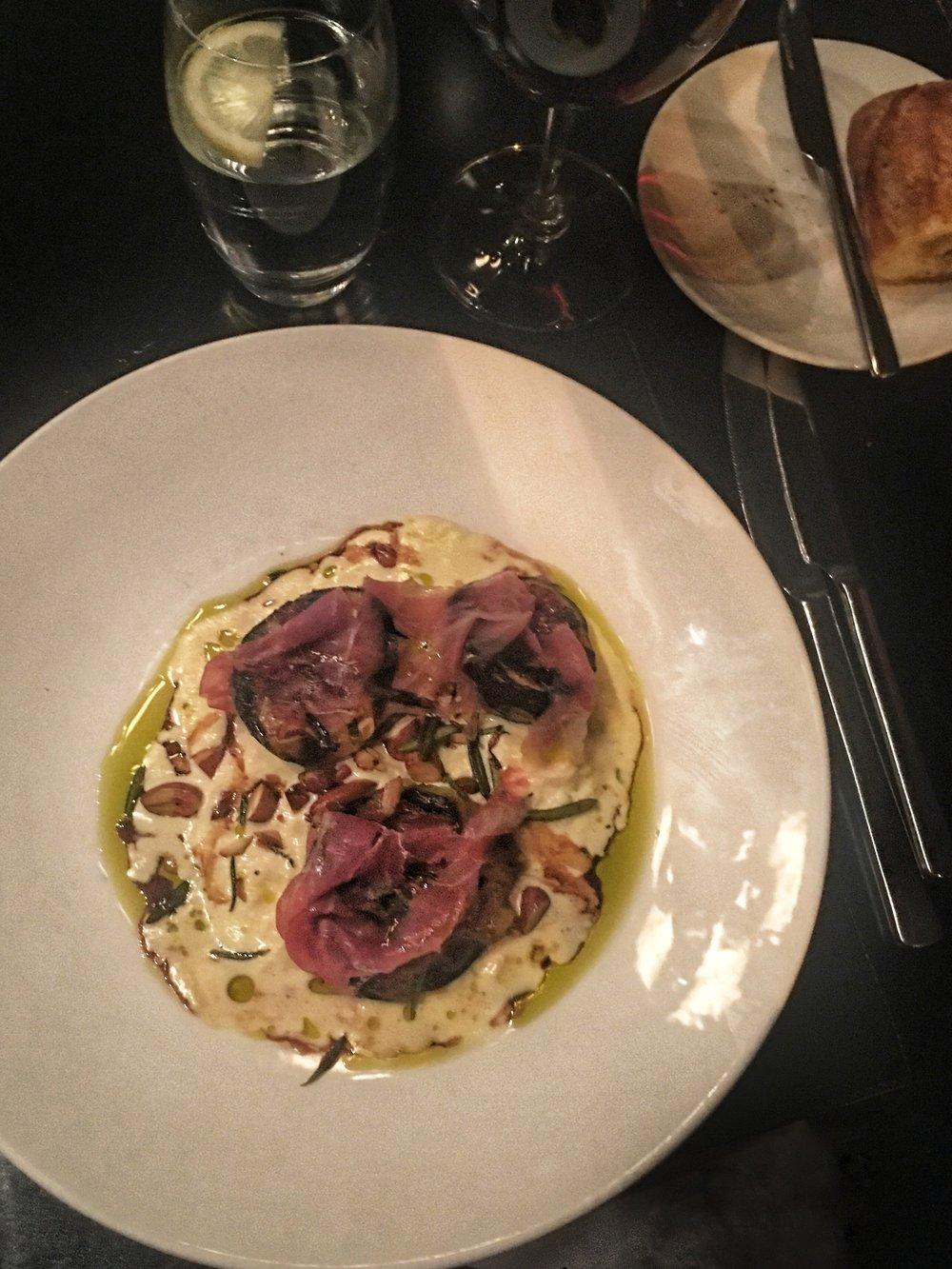 Grilled Figs with Stracciatella, Almonds and Parma Prosciutto.