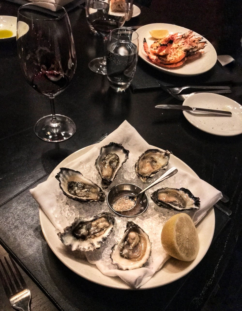 Freshly Shucked Oysters with Mignonette Sauce.