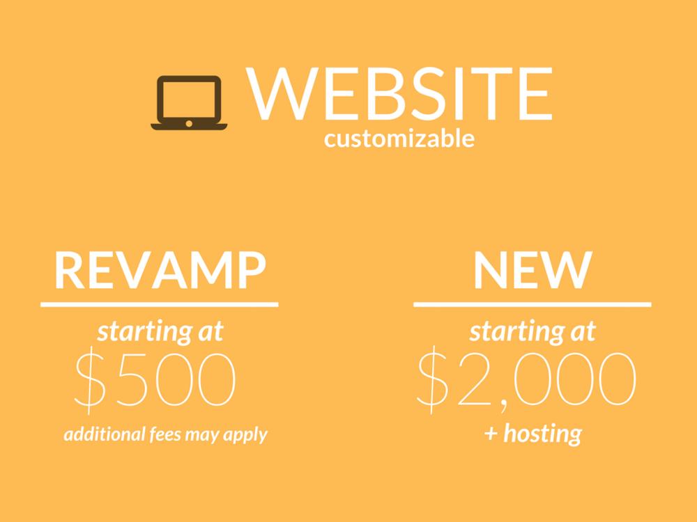 Website, customized website, revamped website, new website, $2,000 per month, hosting, starting at $500 dollars to rebuild website, analytics formatting, analytics reporting