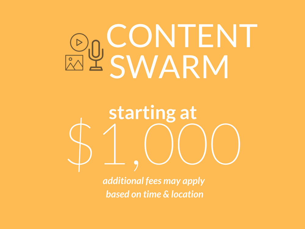 Content swarm, gather content, starting at 1,000 dollars, travel, images, video gathering, video interviews, your content, your way