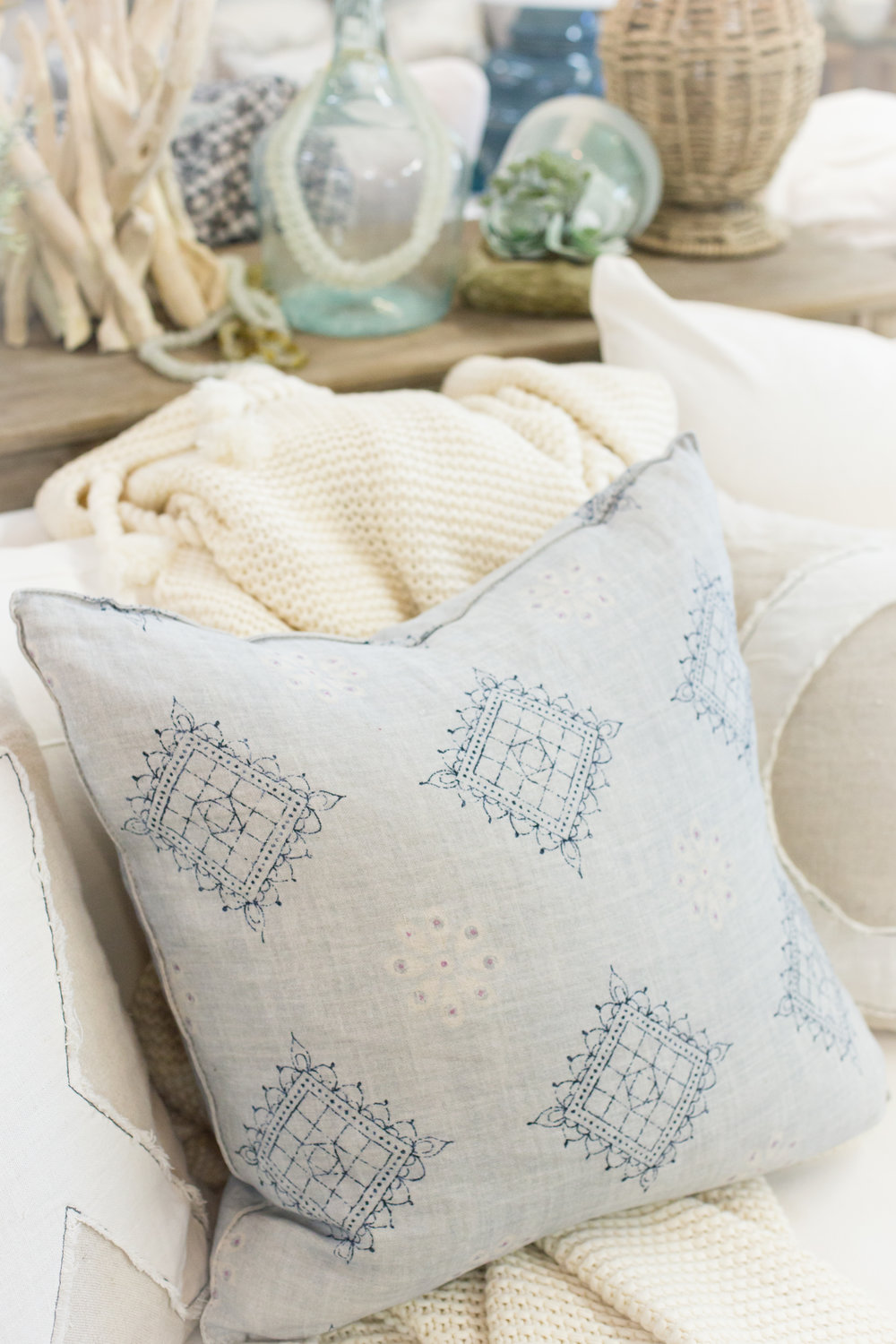 Ocean blue patterned pillow