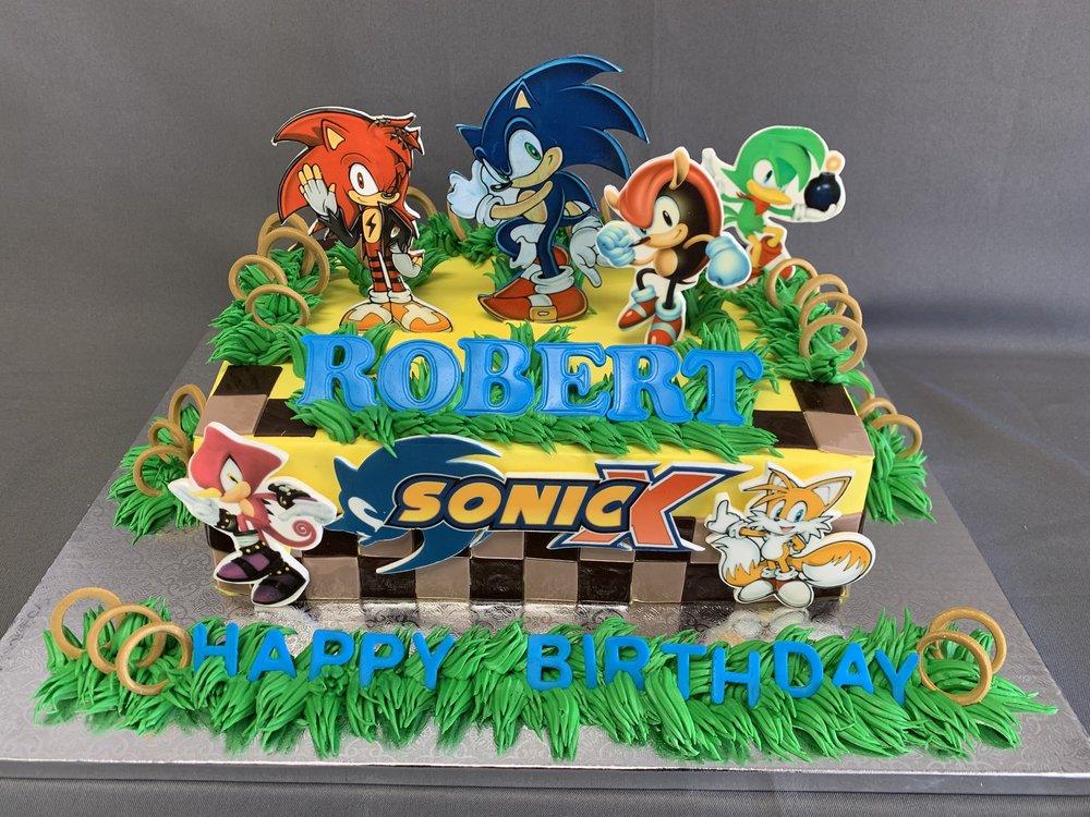 Magnificent Sonic Birthday Cake Skazka Desserts Bakery Nj Custom Birthday Funny Birthday Cards Online Alyptdamsfinfo