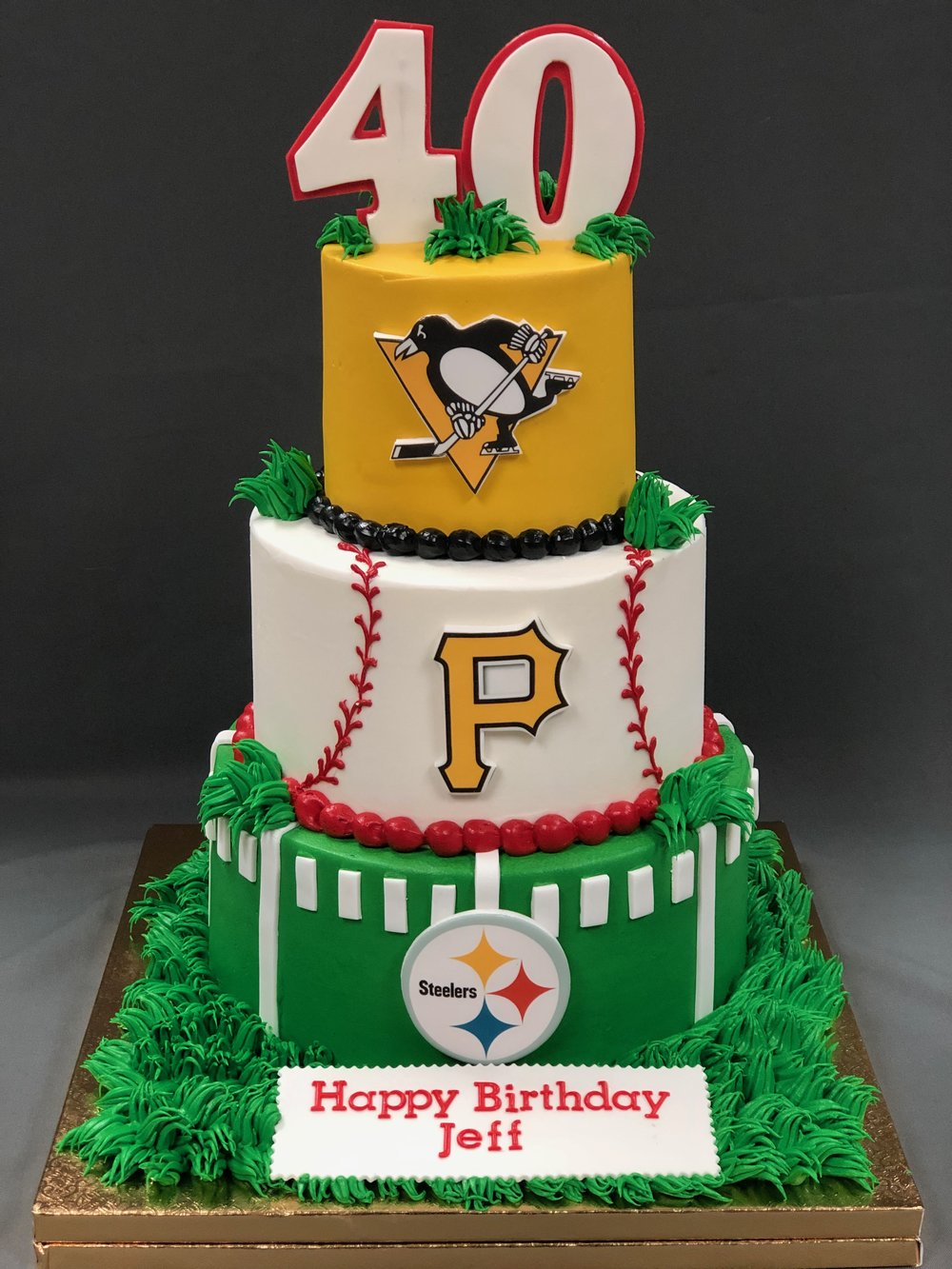 Sensational Pittsburgh Team Fans 40Th Birthday Cake Skazka Desserts Bakery Funny Birthday Cards Online Alyptdamsfinfo