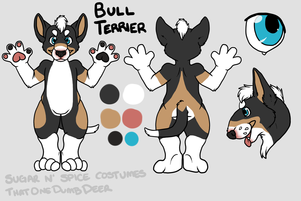 Tri color English bull terrier - $1800  Plantigrade Full suit      $2100 Didgigrade Full suit. This suit will include a badge from Lilbobleat