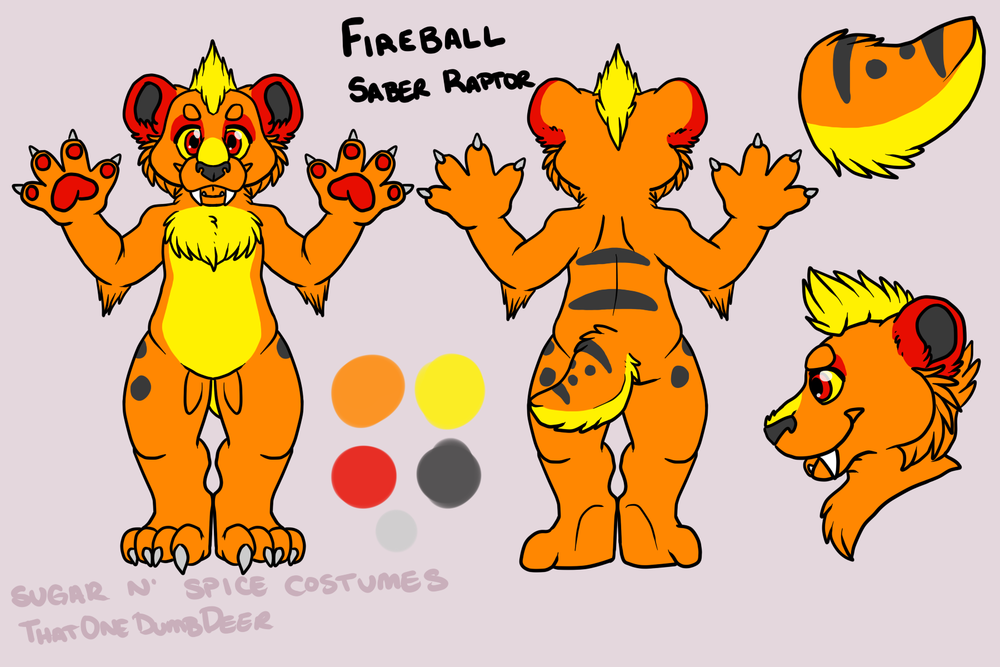 Fire ball Saber Raptor - $1850  Plantigrade Full suit      $2100 Didgigrade Full suit. This suit will include a badge from Lilbobleat