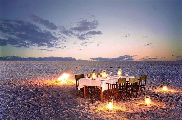 African Safari Experts dinner table on the Makgadikgadi Pans