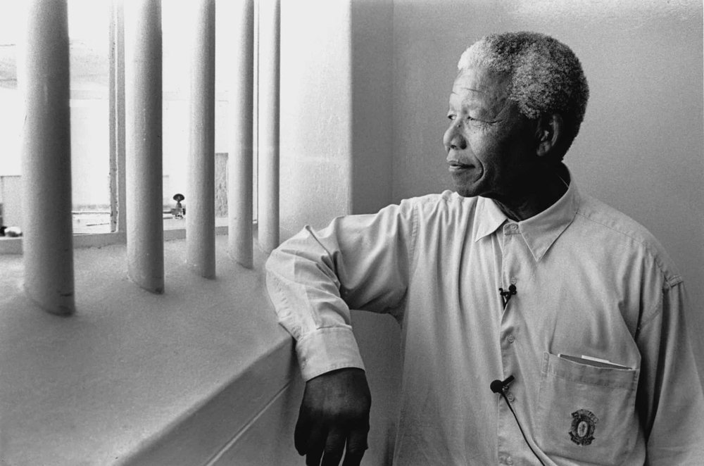 Nelson Mandela in his old prison cell.