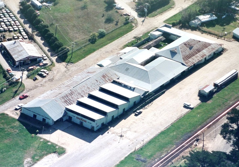 Aerial view of the Tyabb Packing House showing the original position of the train carriage.