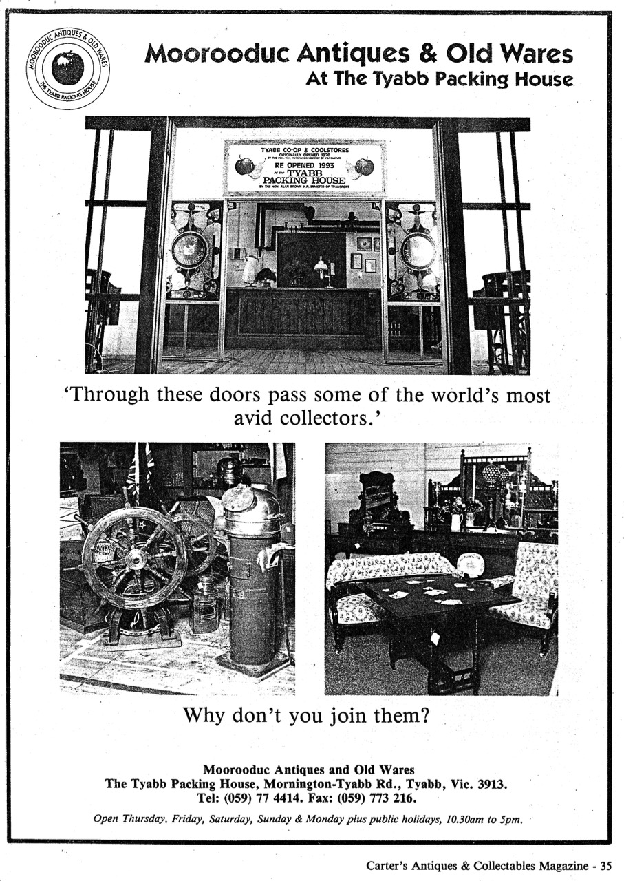 Carter's Antiques Advert 1993