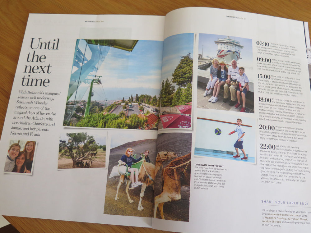P&O Moments Magazine - provided the copy as a diary format, together with images from the holiday.