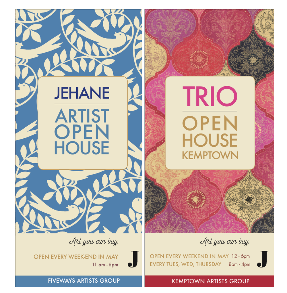 Jehane Boden Spiers has curated two OPEN HOUSES this May - in FIVEWAYS and in KEMPTOWN  JEHANE's OPEN HOUSE is at 89 Waldegrave Road, Fiveways, BN1 6GJ  TRIO is at 11 Walpole Terrace, Kemptown BN2
