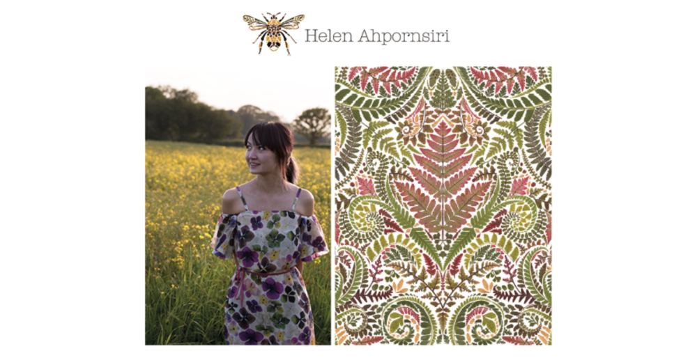 Helen Ahpornsiri in a dress featuring her own pattern; created for Pankaj & Nidji collection - Spring Summer 2017 - stocked in Anthropologie