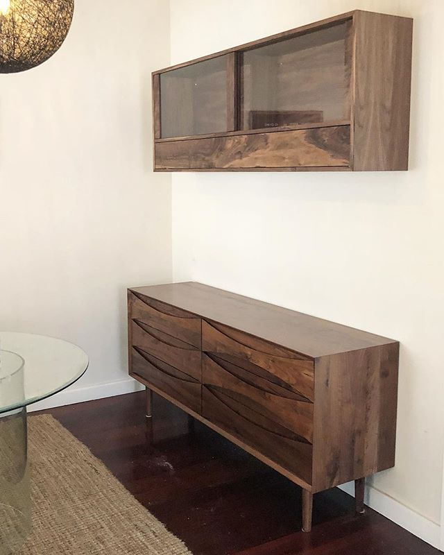 Wall mounted Whisky cabinet, just delivered and installed in time for birthday celebrations. #whiskycabinet #cabinetmaker #furnituremaker #furnituredesign #craftsman #walnut #freo #fremanlte #perth
