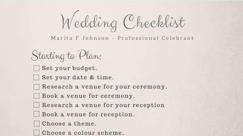 free wedding checklist marita johnson celebrant