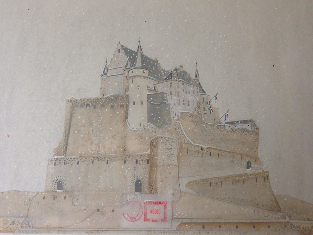 Vianden castle - Original PaintingMixed techniques (acrylic, pencil, etching, collage) on paper38 x 45 cmEUR 2.500