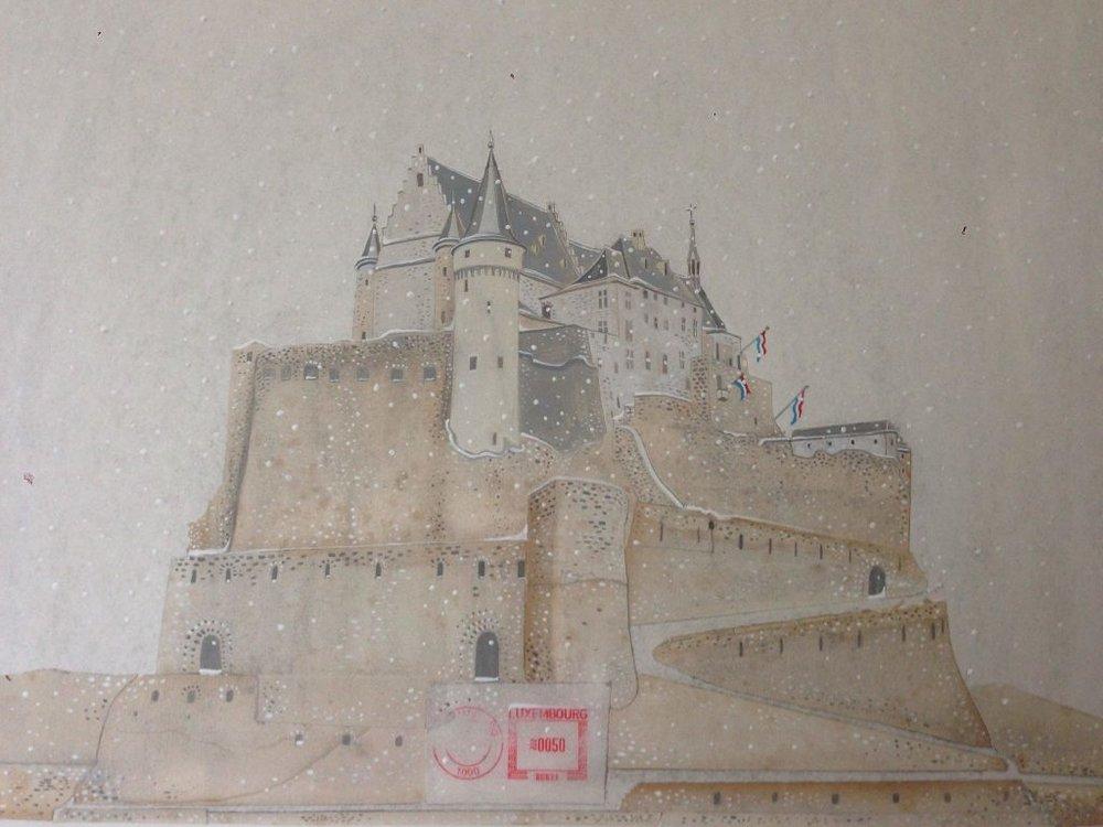 Vianden castle - Original PaintingMixed techniques (acrylic, pencil, etching, collage) on paper38 x 45 cmEUR 2.500