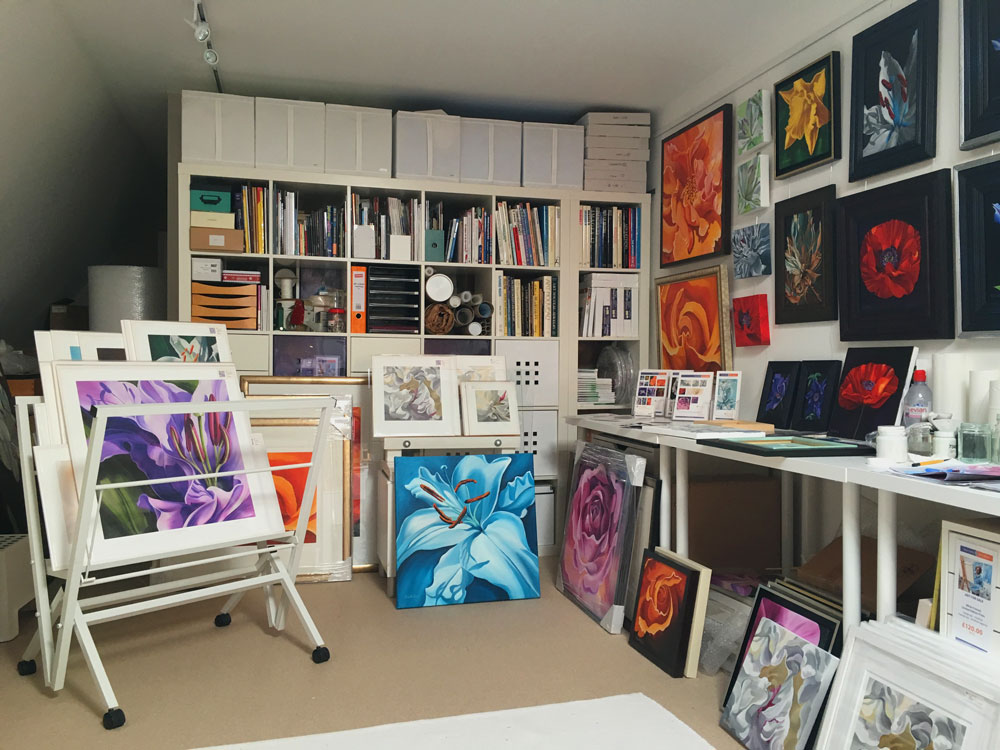 Karen Hollis's art studio in preparation for West Berkshire & North Hampshire Open Studios 2016