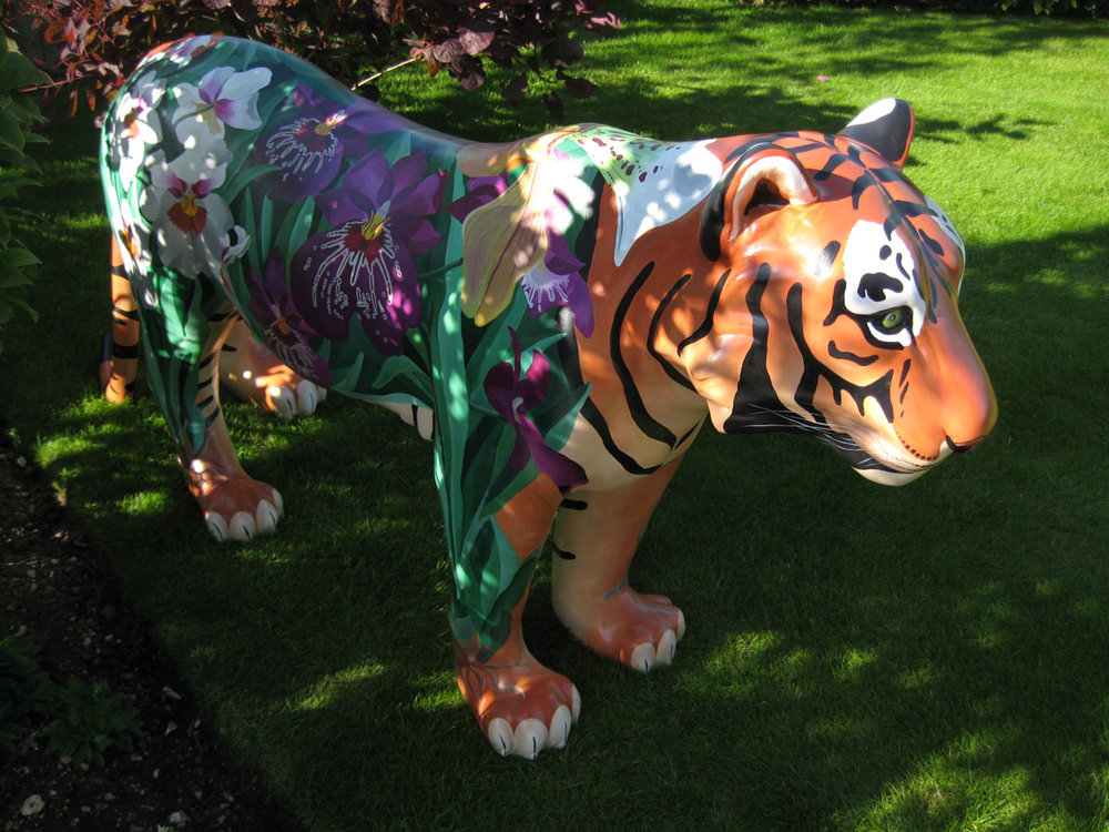 'Jeffrey, the Orchid Tiger' created by floral artist, Karen Hollis, for the Elephant Family event 'Jungle City, Edinburgh', 2011.