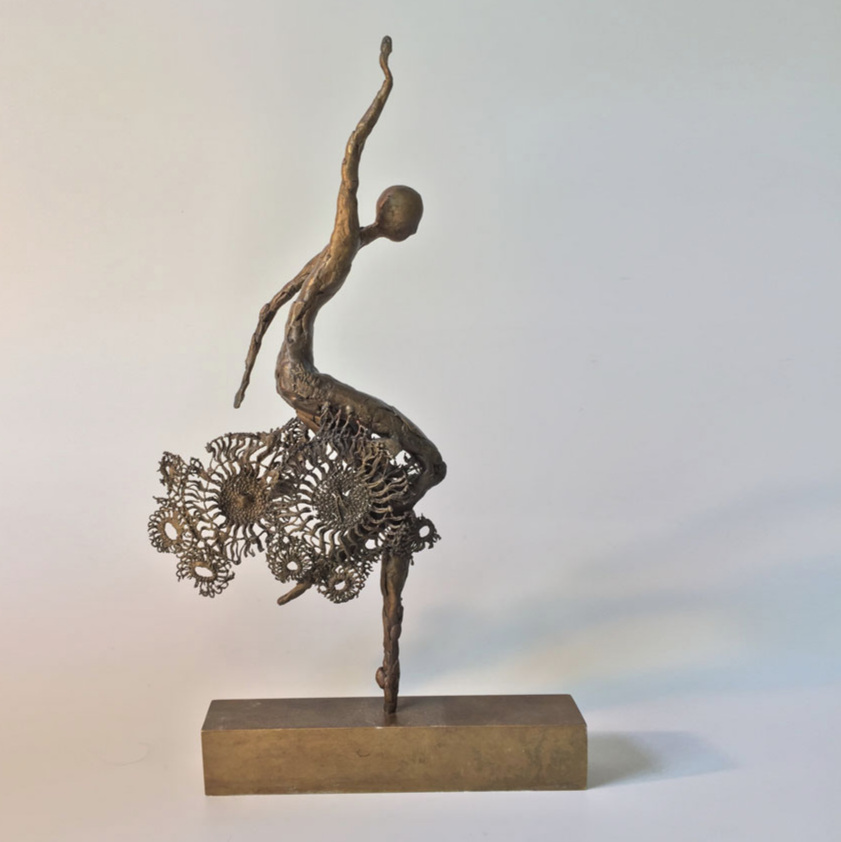 Robyn Neild - We are proud to be displaying the intricate work of bronze figurative sculptor Robyn Neild.From Folkestone, but pleased to be joining us here in Hove, Robyn creates the most delicate metal works of art. Her long limbed figures have a fluidity to them that belies the rigidity of their very fabric while her botanical works look soft and pliable but are seriously spikey!