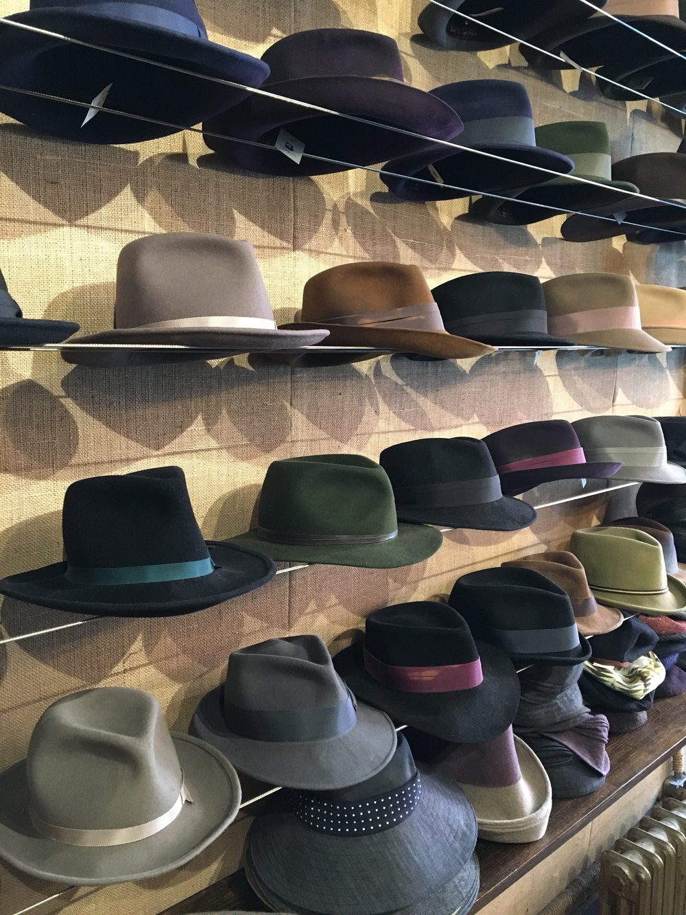 Fedora Wall at East Village Hats