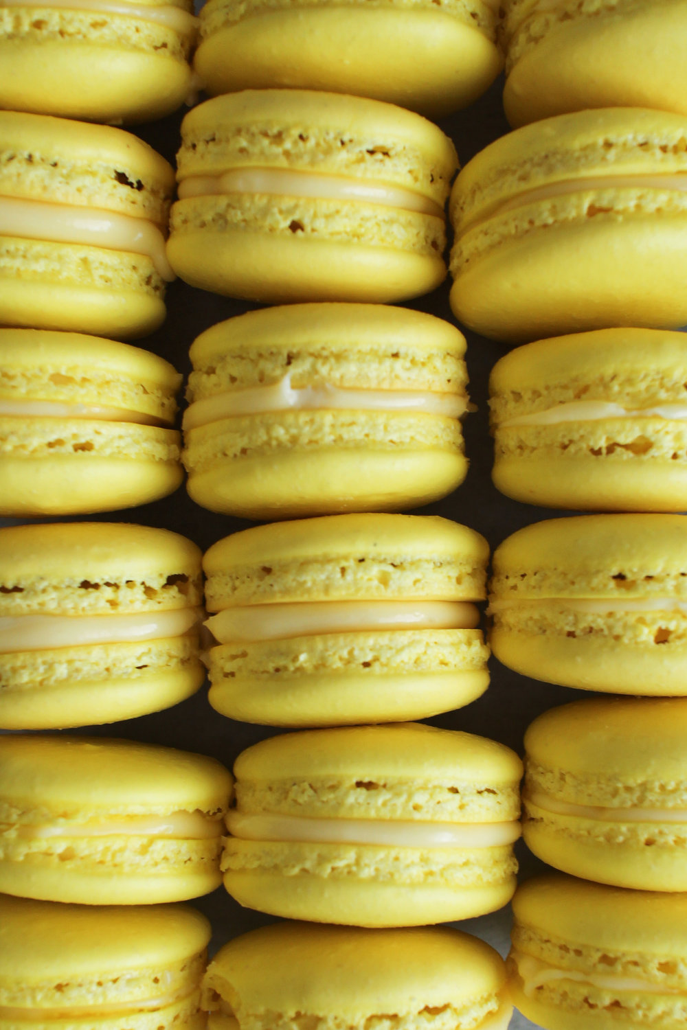 Lemon and Basil Cream Macarons - classic vanilla shell with lemon and basil infused cream and lemon gel by Fox and Crane