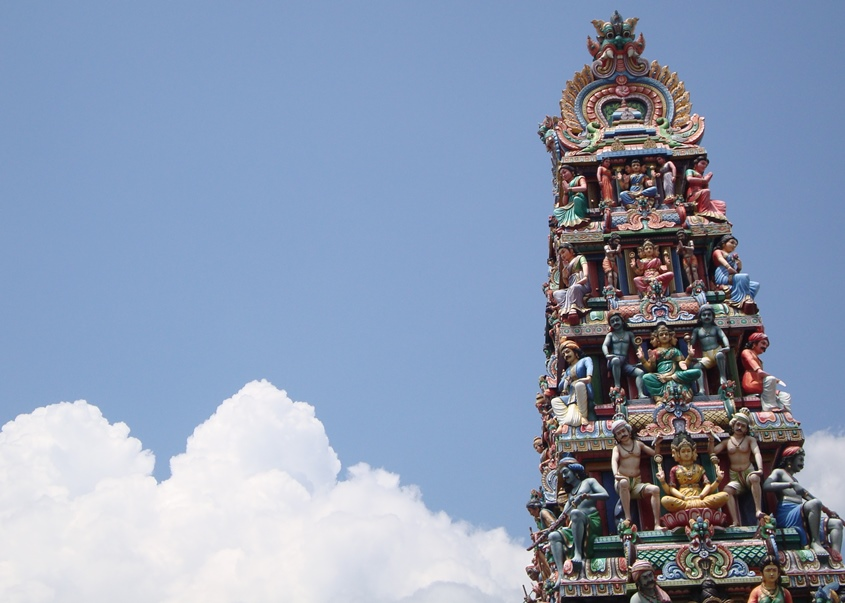 The  gopuram  (pagoda) of the Sri Mariamman temple, showing some of the fine detail on the sculptures. Photograph © Oogachaga