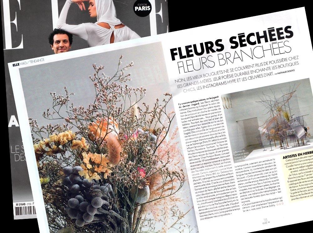 """"""" La fleuriste Miyoko compose des bouquets séchés avec des fleurs venues du Japon, d'une grande délicatesse."""" Elle Magazine novembre 2017."""