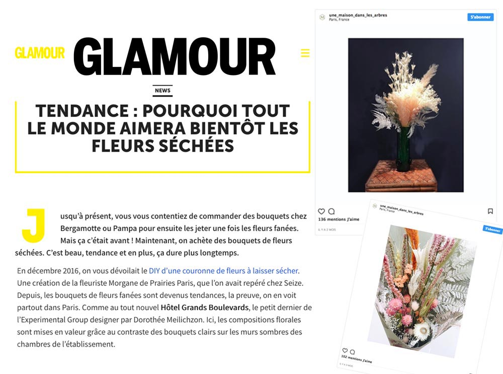 """Instagram """"une Maison dans les Arbres"""", atelier de Miyoko Yasumoto cité dans Glamour Janvier 2018"""