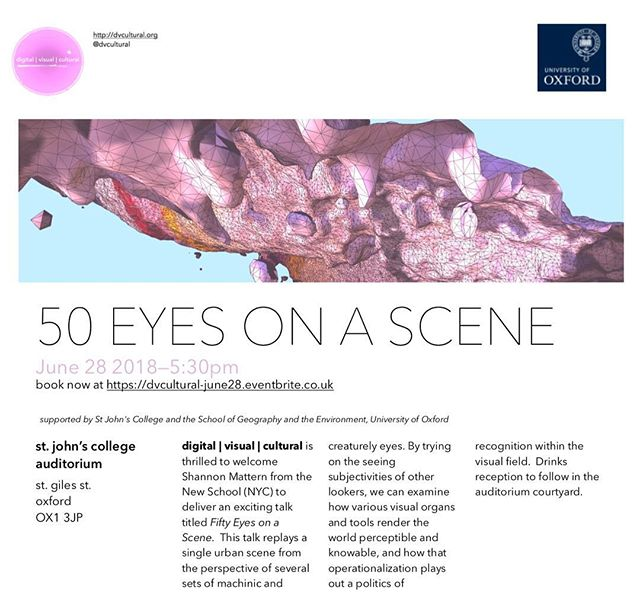 "Excited to announce our first event, June 28!  Shannon Mattern of the New School (NYC) will deliver a talk titled ""50 Eyes On A Scene"". Book now, link in bio!"