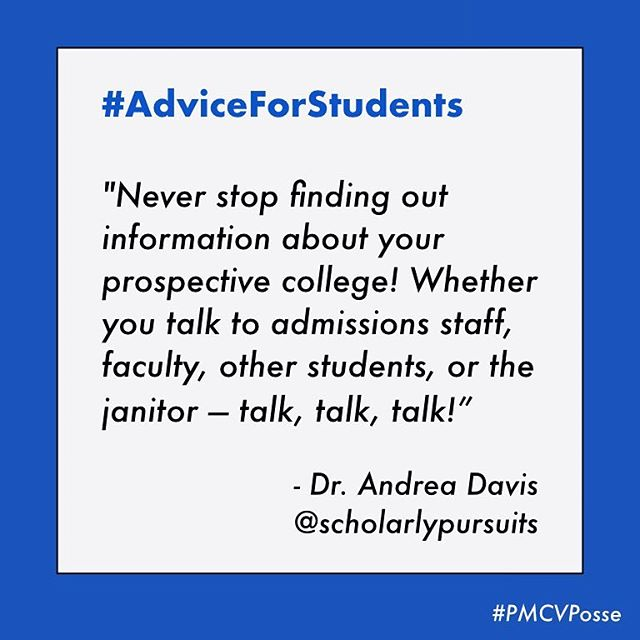 "Never assume your knowledge is complete! 💫 There's always more to learn about a person, place, or in this case - prospective school! 🏫 As @scholarly_pursuits wisely relayed 👉🏼 ""Sometimes the most helpful nuggets of information are found where you least expect them."" 🕵🏻‍♀️🕵🏻‍♂️ Ask away! #PMCVposse"
