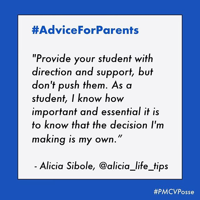 We're kicking the week off with some expert intel for #parents, from the student section! 👩‍💻 As those college decisions begin to approach, @alicia_life_tips weighs in with an important reminder on respecting independence. 🙏🏻💫 #PMCVposse