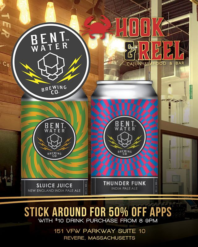 LISTEN UP HOOK & REEL FANS... We'll be having our first of many tastings *****MONDAY, AUGUST 6th!!!**** Introducing NEW and tasty beers from Bent Water Brewery right here in Lynn, MA !! Come out and be a part of selecting what NEW BEERS will be on tap at your favorite neighborhood drinking spot!! **ALSO, if you enjoy the beer so much and purchase two, you will receive a FREE Bent Water Pint Glass!! We will be tasting:  Thunderfunk 7.2% IPA; Brewed with four hop varieties and three different malts, Thunderfunk pours a hazy orange color with a thick head. Its nose offers mango, citrus, pine, and a touch of honey. Juicy hops supported by a soft malt backbone deliver mango, passion fruit, slight biscuit and a lingering citrus bitterness.  AND  Sluice Juice 6.5% NE IPA; Sluice Juice is a New England IPA made with huge doses of Galaxy, Motueka, Waimea and Citra hops. Juicy and hazy, this beer is packed with dank aromatics of orange, tangerine and lime peel ****STICK AROUND FOR 50% OFF APPS from 8-9pm when you buy a drink over $10 at the bar ****